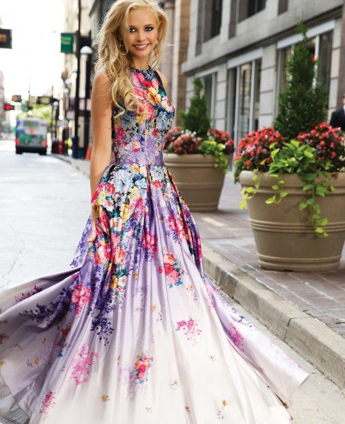 floral prom dresses long